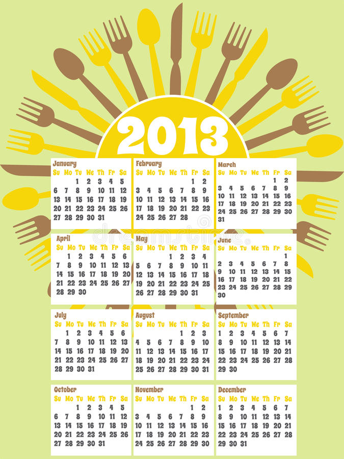 Download Retro Style 2013 Kitchen Calendar Stock Vector - Image: 24292890