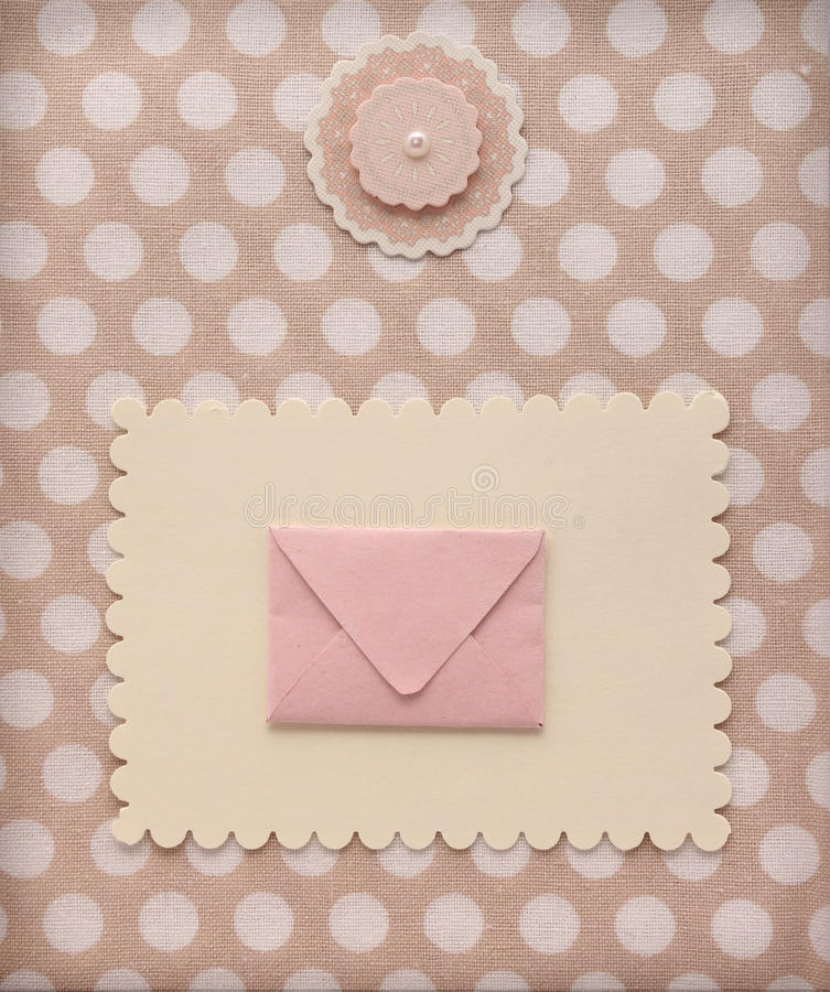 Textile Stock Distributors Mail: Retro Style Album Page With Mail Envelope And Flower