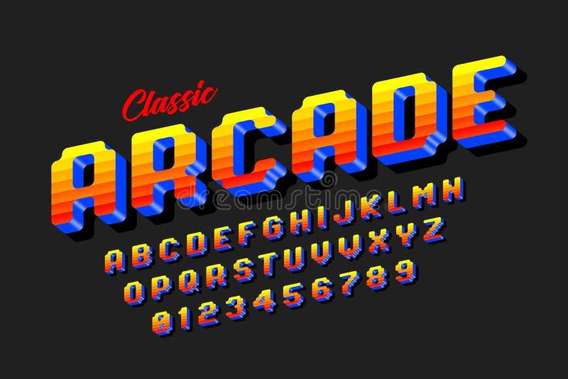 Retro style arcade games font vector illustration