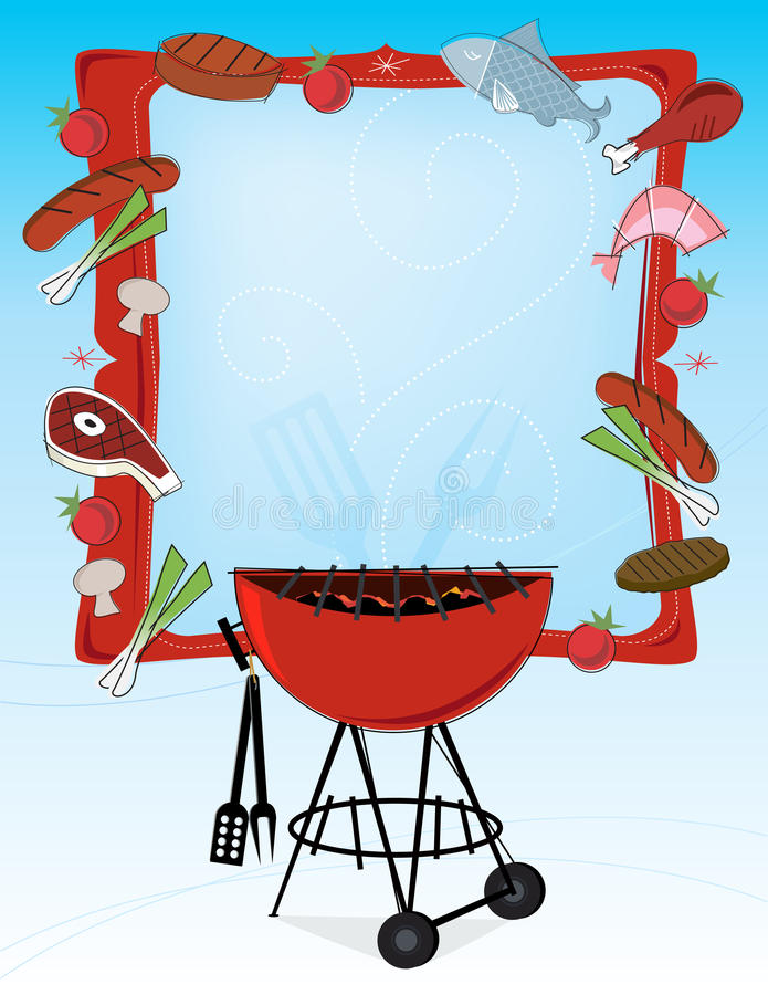 Download Retro-style BBQ Frame stock illustration. Illustration of copyspace - 9787187