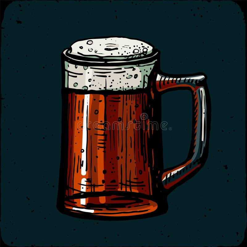 Retro style beer mug, cup or glass engraving. Red ale, amber ale, craft beer, light beer, lager, Indian pale ale, American pale ale. Local brewery. Vintage royalty free illustration