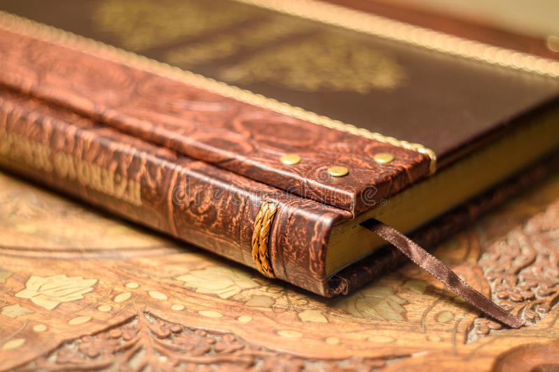 Retro style book. Handmade leather cover. stock photography