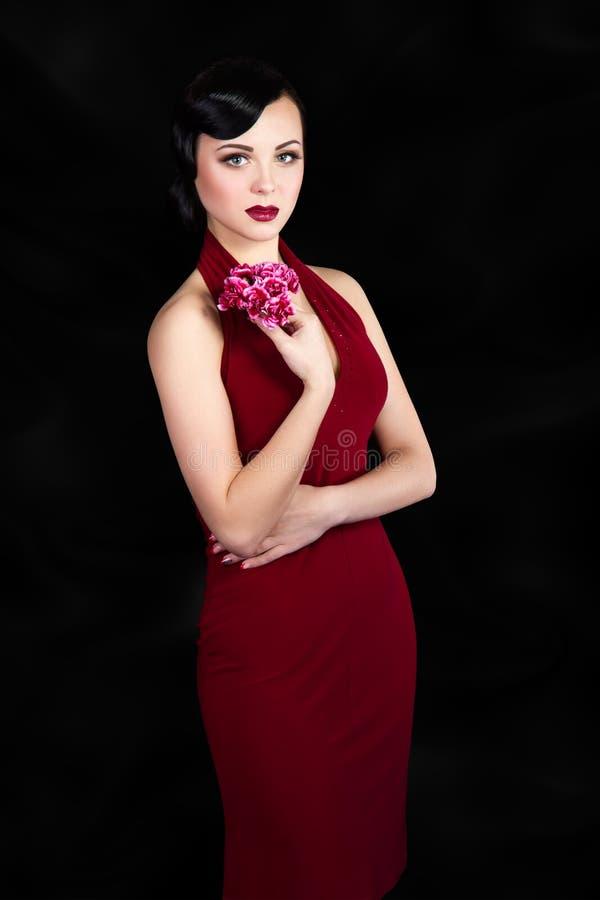 Retro style brunette woman royalty free stock image
