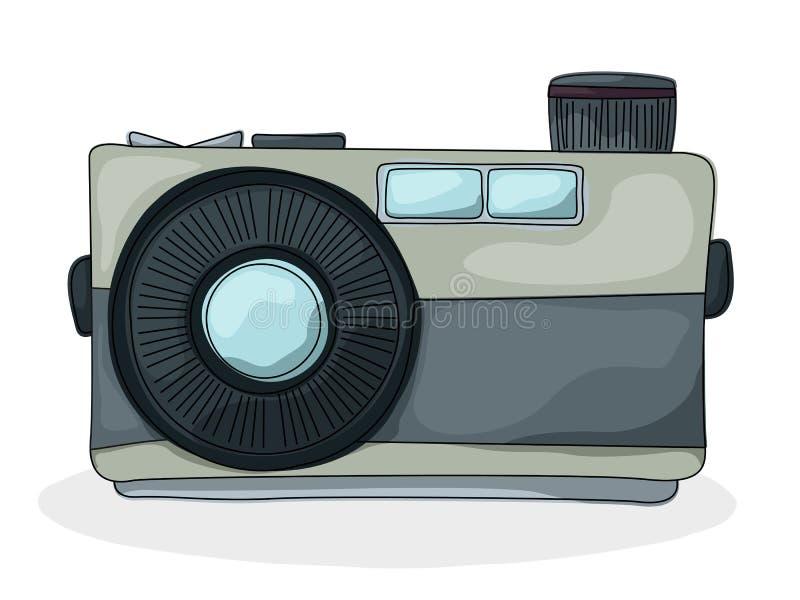 Retro Style Cartoon Photo Camera Drawing Over White Background
