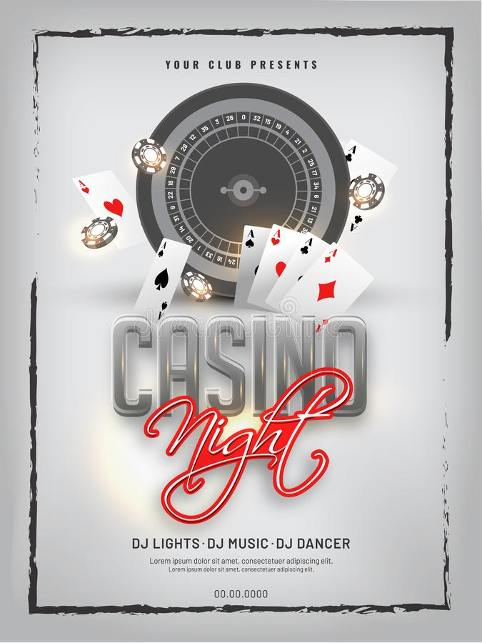 Retro style Casino Night party template design with slot machine, playing cards. stock illustration