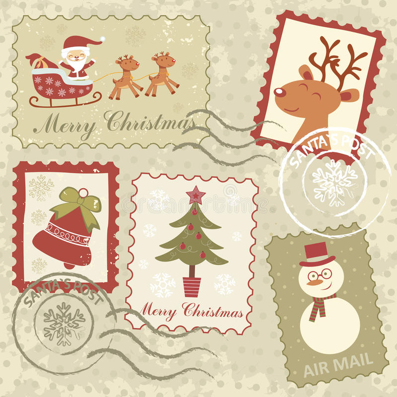 Retro style Christmas stamps vector illustration