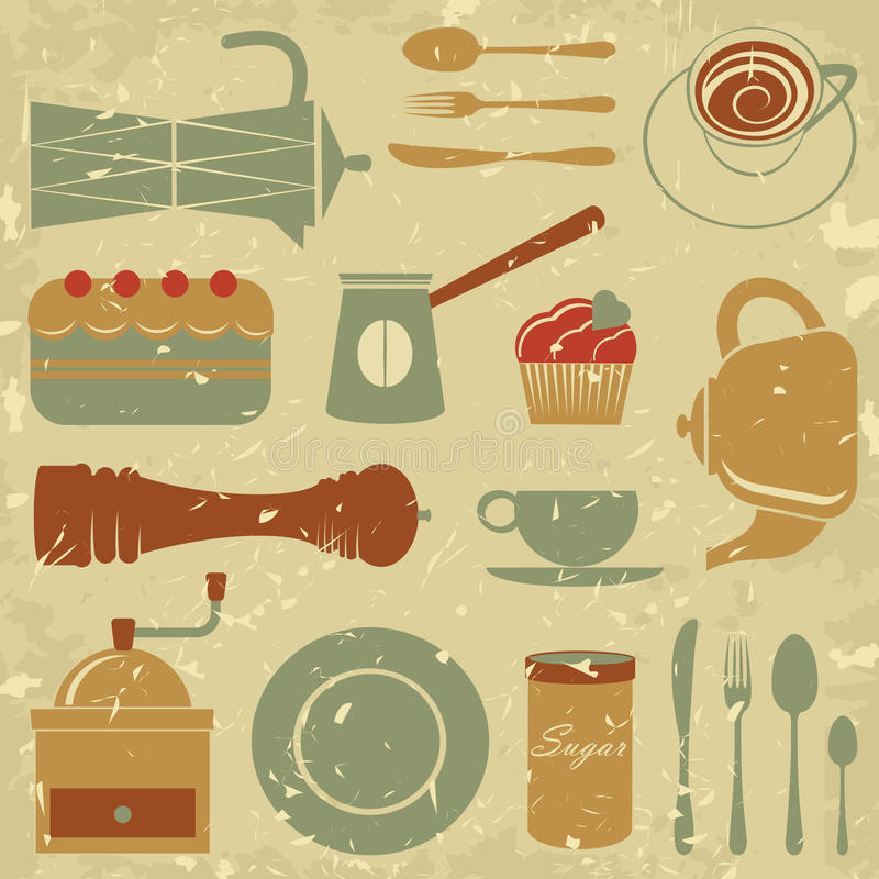 Download Retro style coffee set stock vector. Image of cookware - 28957356