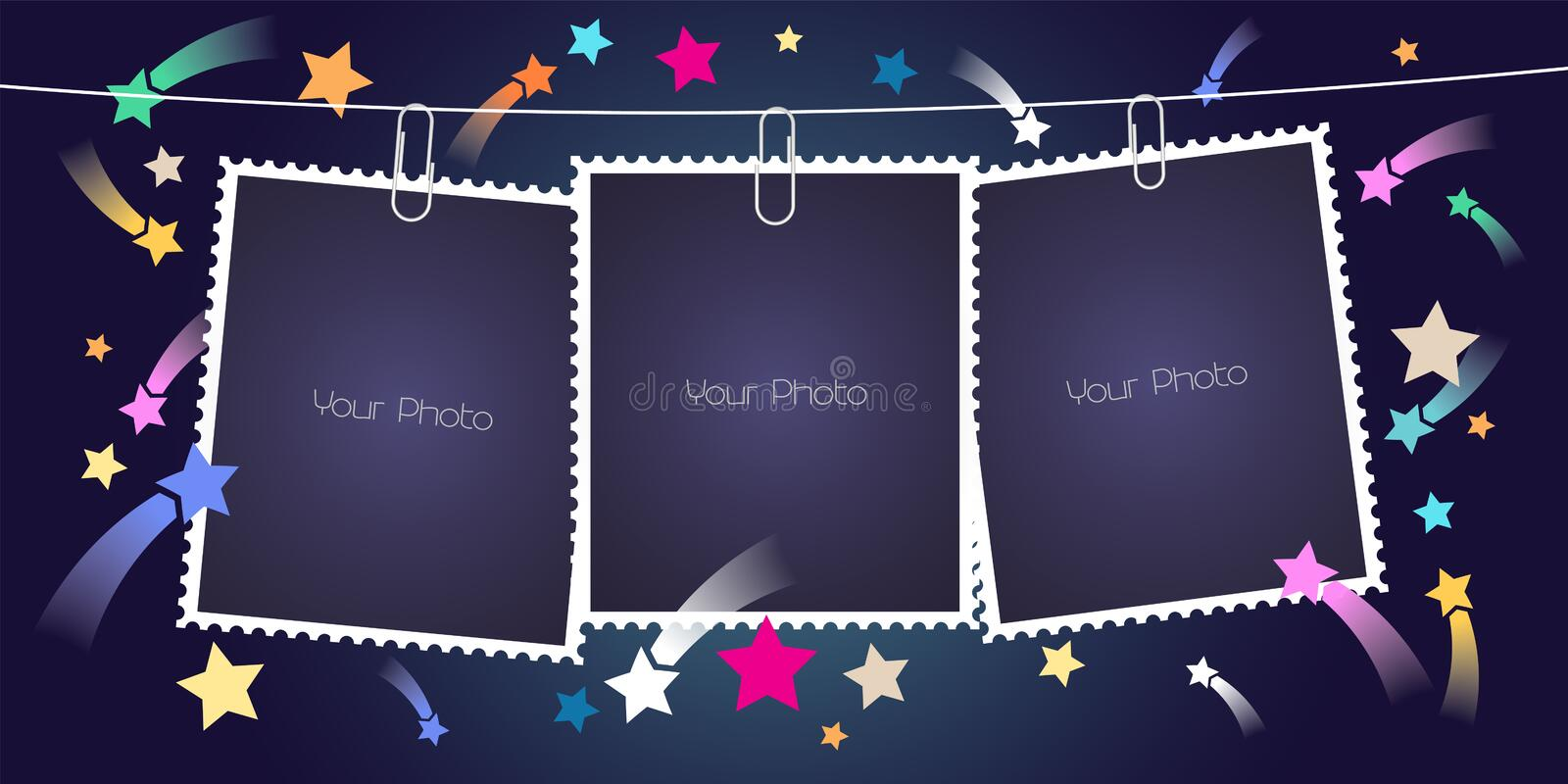 Retro style collage of photo frames with pile vector illustration vector illustration