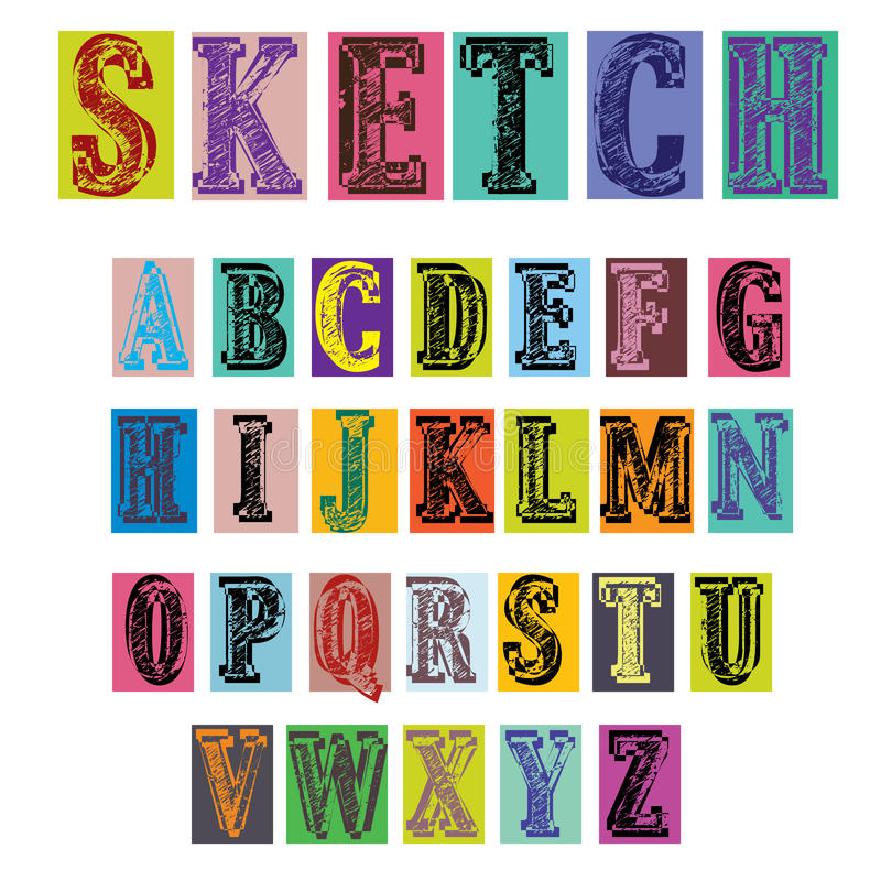 Retro Style Colorful Sketch Alphabet Illustration Royalty Free Stock Images