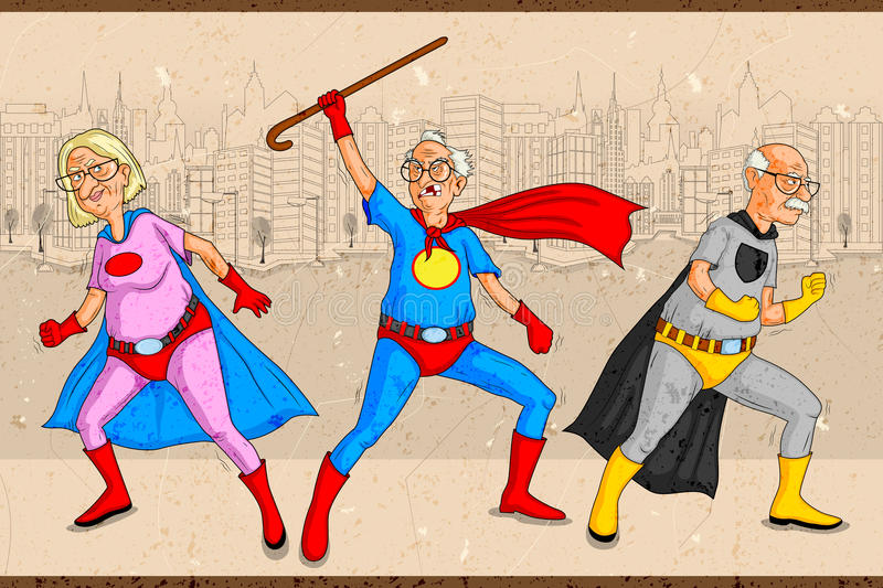 Retro style comics Superhero old man and woman. Showing is power strength in vector stock illustration