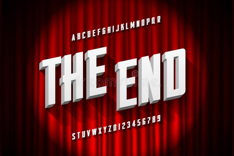 Retro style font. Retro style condensed font, The End title stock illustration