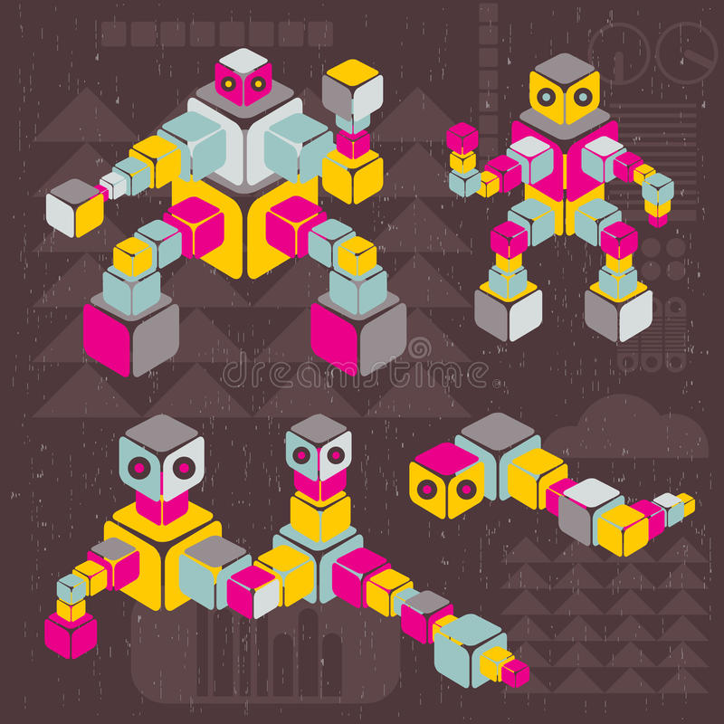 Download Retro style cube robots. stock vector. Image of heavy - 32889949