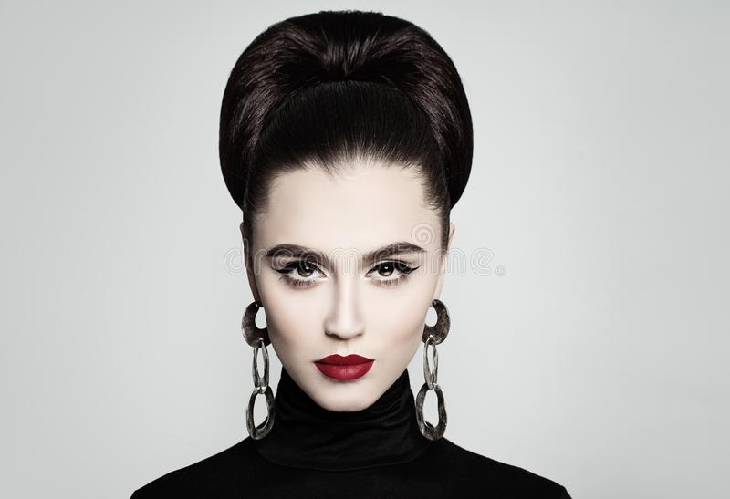 Retro style Fashion Portrait of Elegant Female Model stock photography