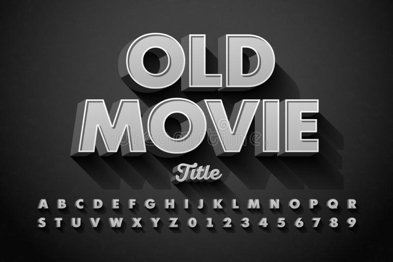 Retro style font, Old Movie title vector illustration