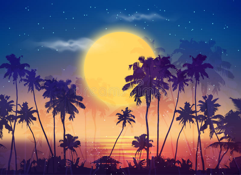 Retro style full moon sky with palm silhouettes vector illustration