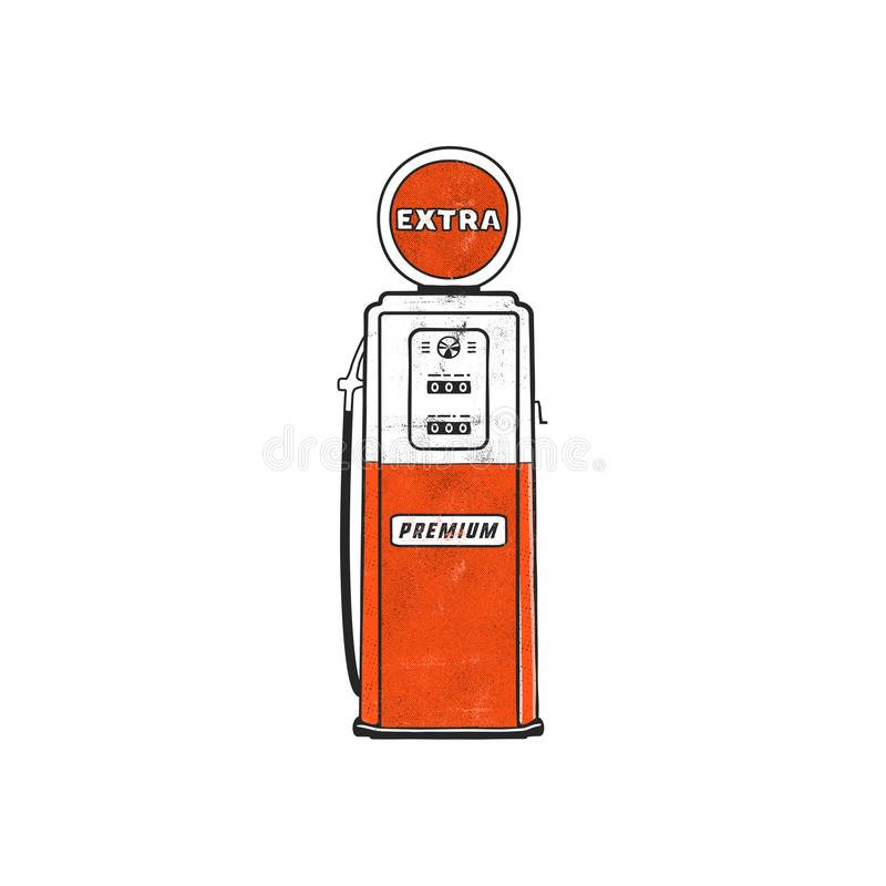 Retro style Gas station pump artwork. Vintage hand drawn design in distressed style. Unique gasoline pump illustration vector illustration
