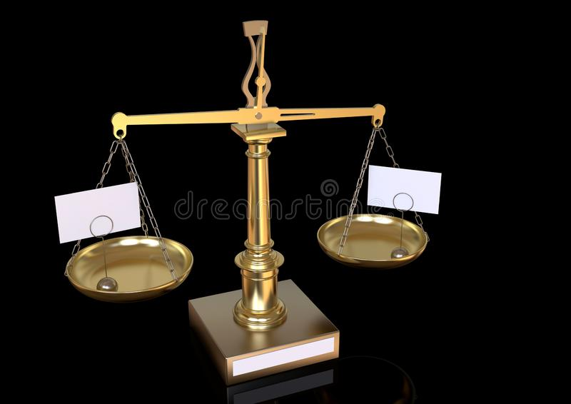 Vintage metallic golden balance scale on black background. Retro style golden metal old balance scale, slightly imbalanced, with blank labels placed on the trays royalty free illustration