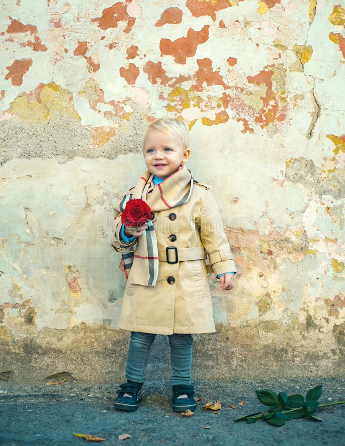 Retro style. happy birthday. wedding. small kid with red rose. happy childhood. love present. childrens day. little boy. In vintage coat. Beauty. valentines day stock photography