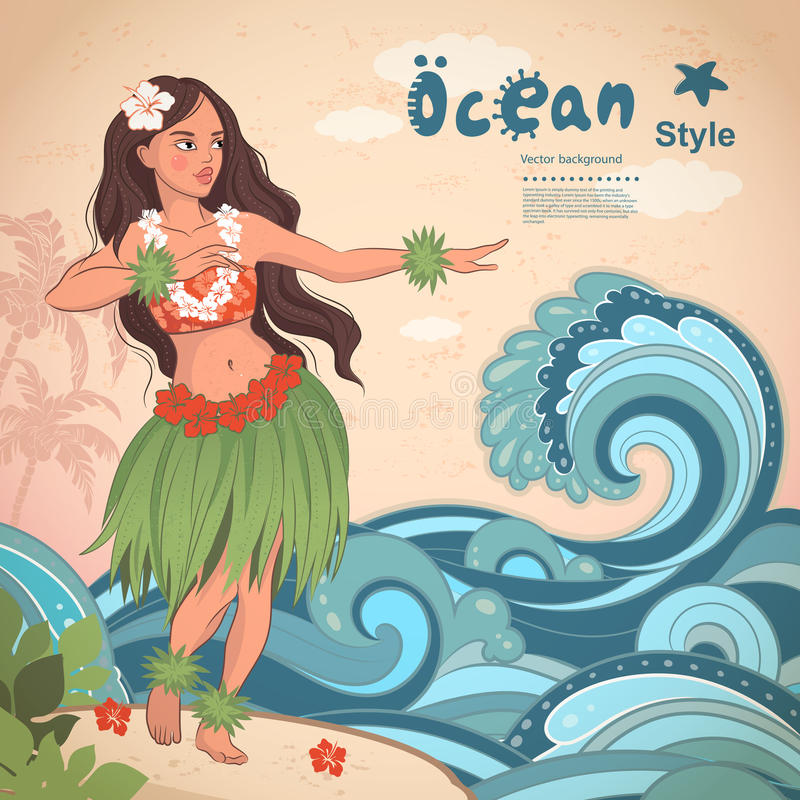 Retro style Hawaiian beautiful hula girl stock illustration