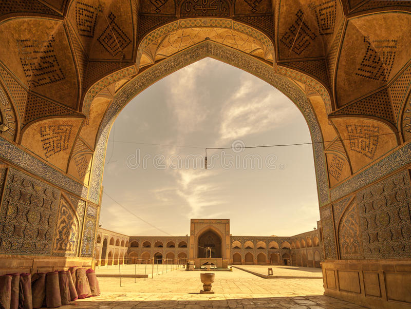 Retro style image of Jameh or Friday Mosque of Isfahan, Iran stock photography