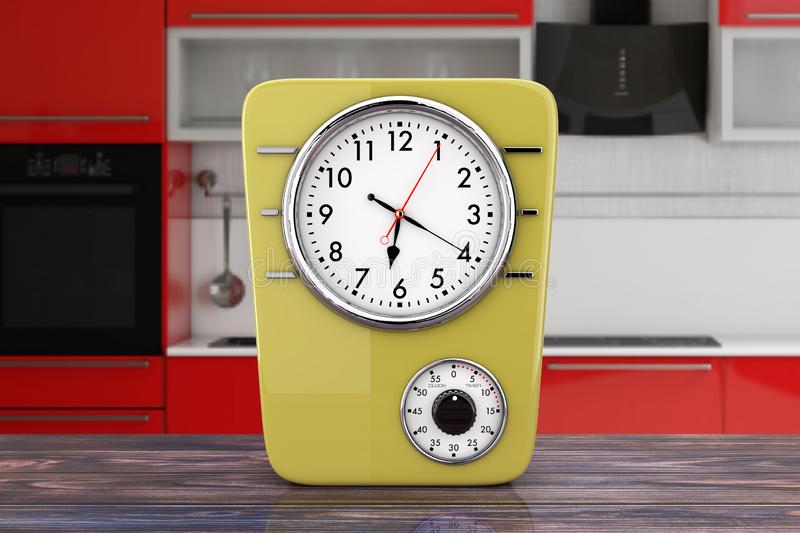 Retro Style Kitchen Clock with Timer. 3d Rendering royalty free stock image
