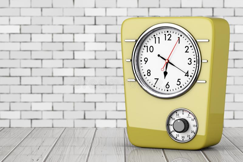 Retro Style Kitchen Clock with Timer. 3d Rendering royalty free illustration