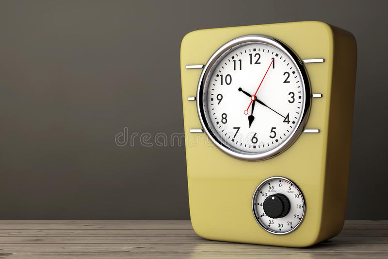 Retro Style Kitchen Clock with Timer. 3d Rendering vector illustration