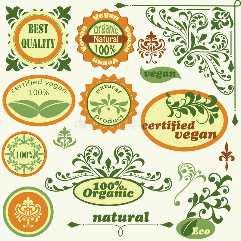 Labels and vintage floral design elements royalty free illustration