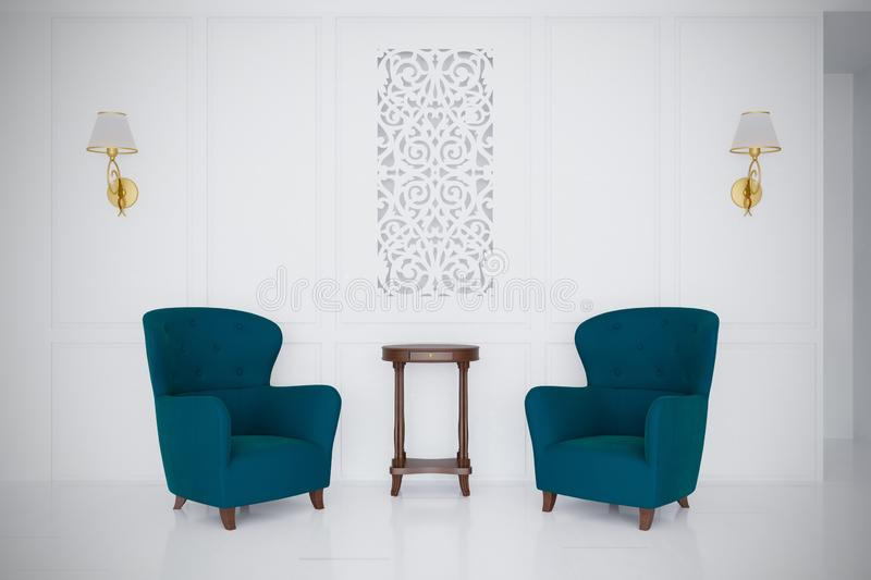 Retro style luxury gossip armchairs 3d render minimal room. Retro style luxury gossip armchairs coffee table 3d render minimal room white background for you vector illustration