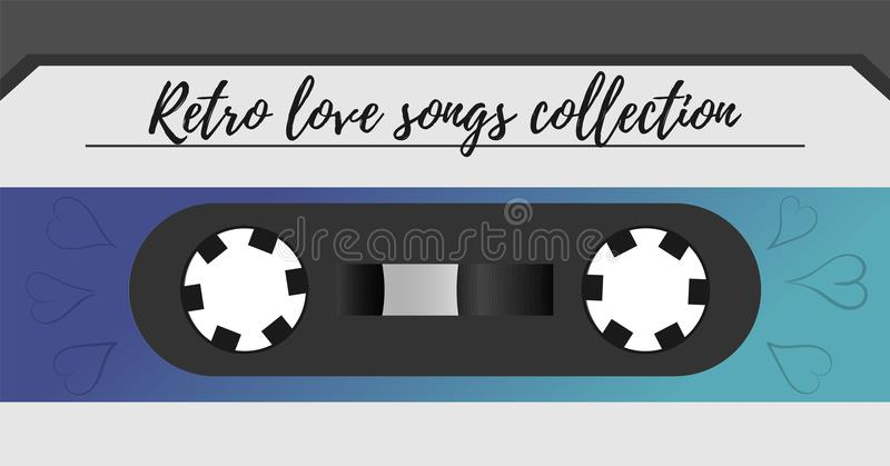 Retro style magnetic audiotape background. 1980s vintage album music storage device. Old audio tape cassette. stock illustration