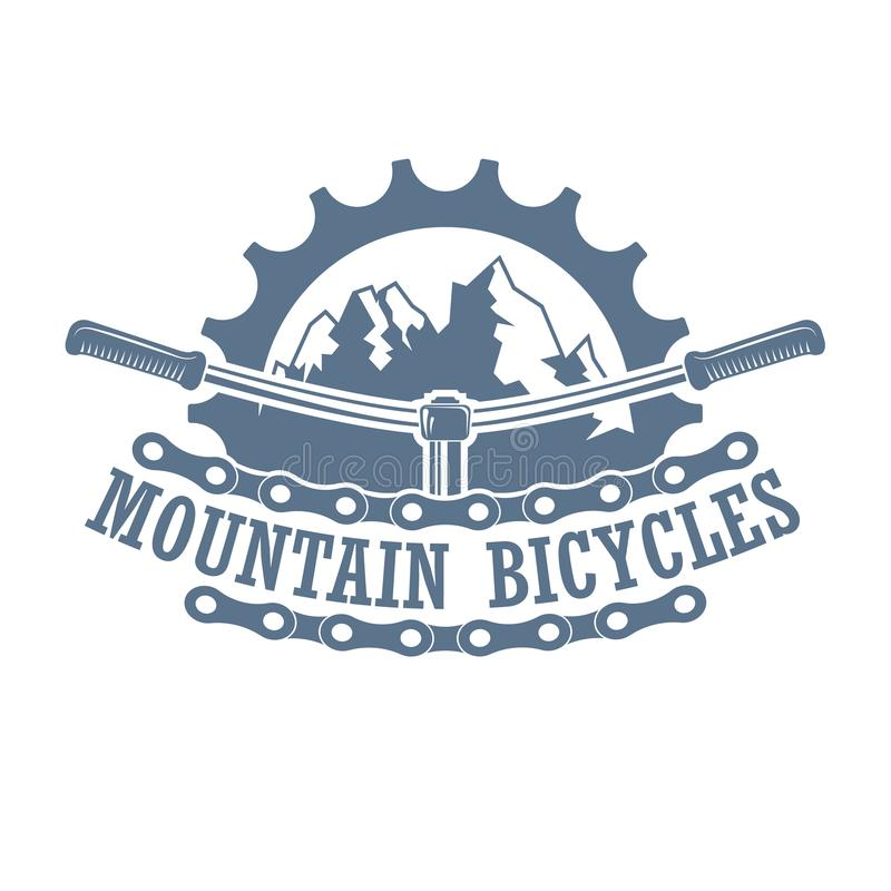 Vintage monochrome mountain racing club logo vector illustration
