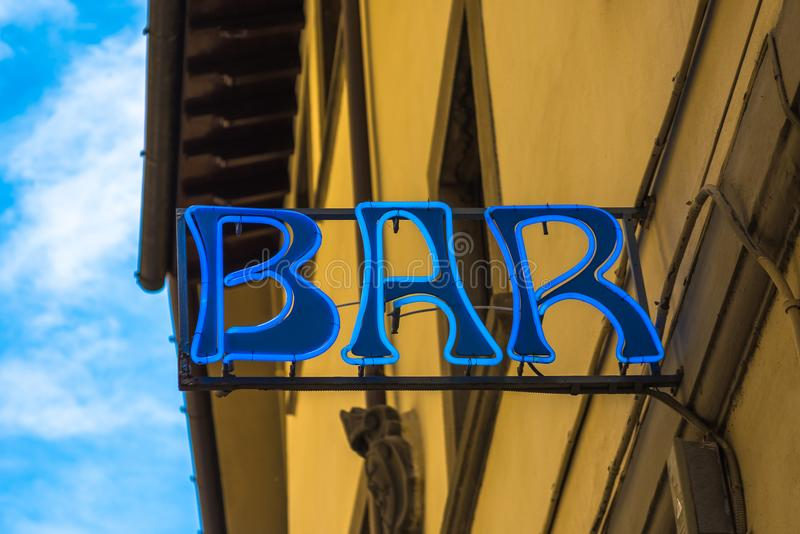 Retro style neon sign of a bar.  royalty free stock photo