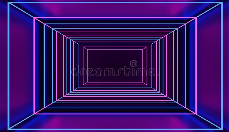 Retro style neon square tunnel in pink and blue cyber space. 3D rendered. vector illustration