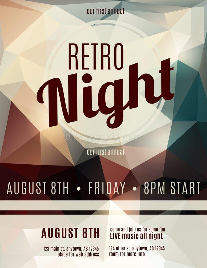 Retro style night club flyer template. Fun polygon background retro night club flyer stock illustration
