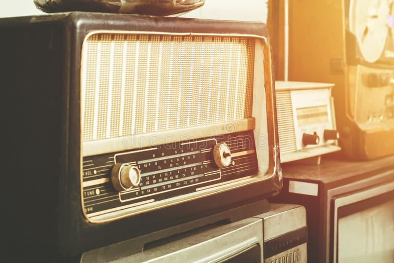The Retro style old boombox radio from 1950s, 1960s vintage tone stock photography