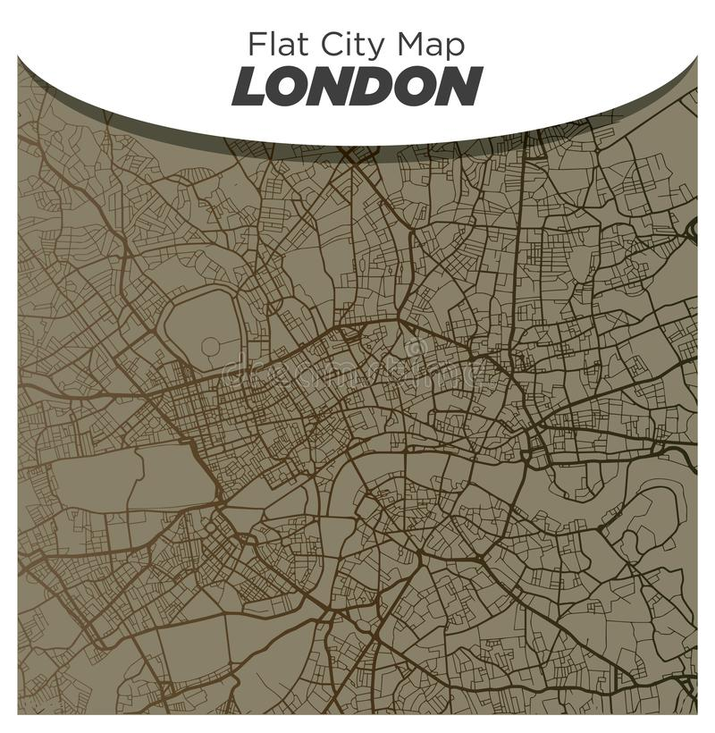 Retro Style Old Brown Map of London England royalty free stock images