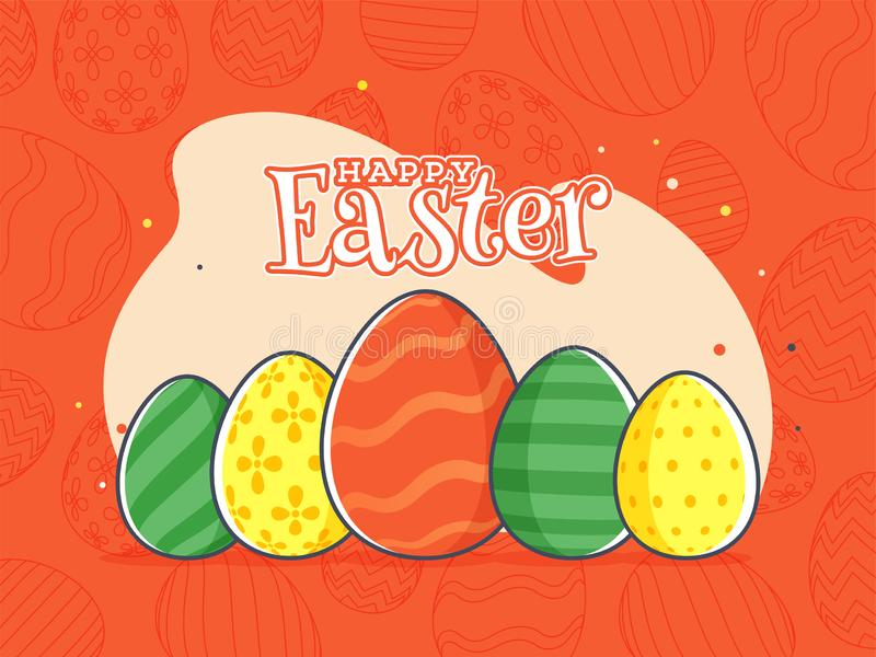 Retro style orange background with colorful egg, Stylish text of Happy Easter Celebration poster. Or flyer design vector illustration