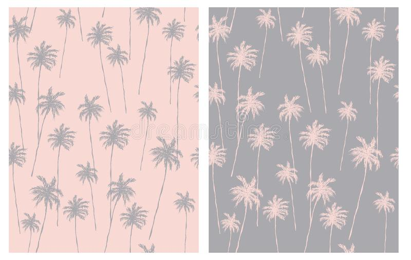 Pale Pink and Gray Tropical Design for Textile, Card, Wrapping Paper, Aloha Party Decoration. Retro Style Palm Trees Seamless Vector Pattern. Pink Hand Drawn vector illustration