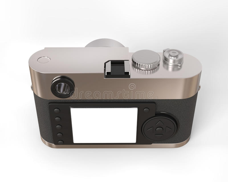 Retro style photo camera - back view. Isolated on white background royalty free stock image