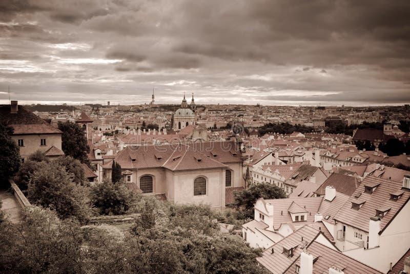 Retro style photo of old part of Prague stock photo