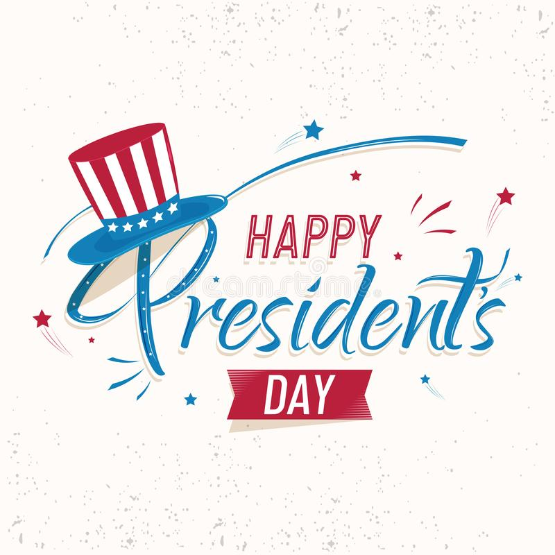 Retro style poster or template design with stylish lettering of Happy President Day. Retro style poster or template design with stylish lettering of Happy royalty free illustration