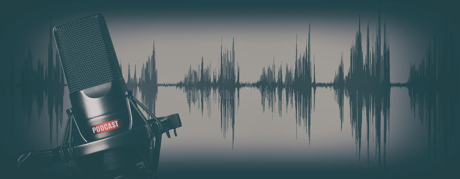 Retro style records podcasts concept. Microphone royalty free stock image