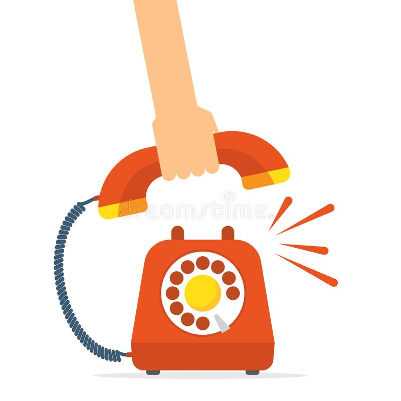 Retro style red telephone ringing. Pick up the phone vector illustration