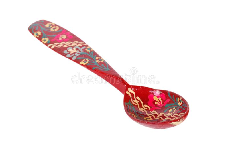 Retro style - Russian old wooden spoon khokhloma painting. Isolated royalty free stock photography