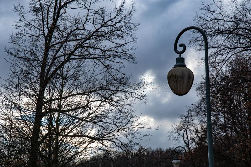 Retro style streetlight on dramatic dark sky background. Bare trees and old street lantern in Tiergarten park of Berlin Germany. Tiergarten public park of royalty free stock photos
