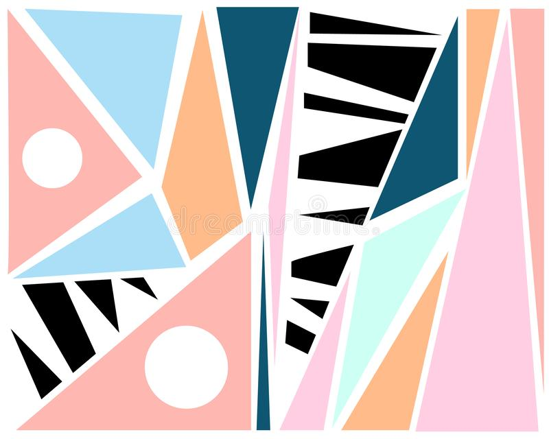 Fashionable background set of geometric elements of memphis cards. vector illustration