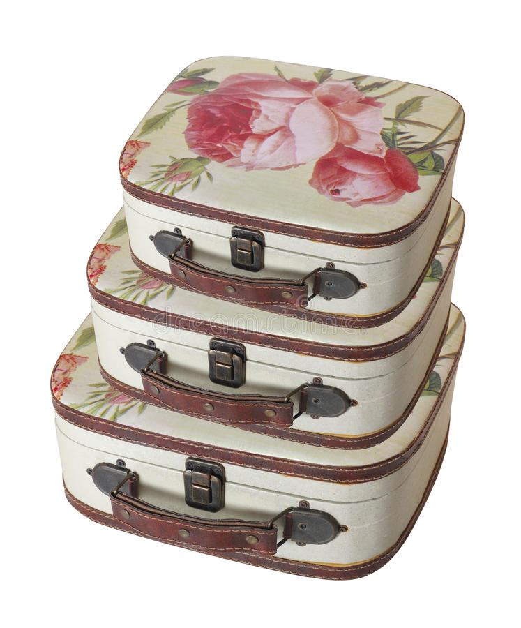 Retro style - Three vintage small suitcase pile stock image