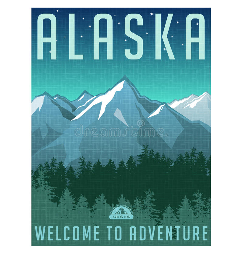Create A Rockabilly Poster With Vector Set 22: Retro Style Travel Poster Or Sticker. Alaska Stock Vector