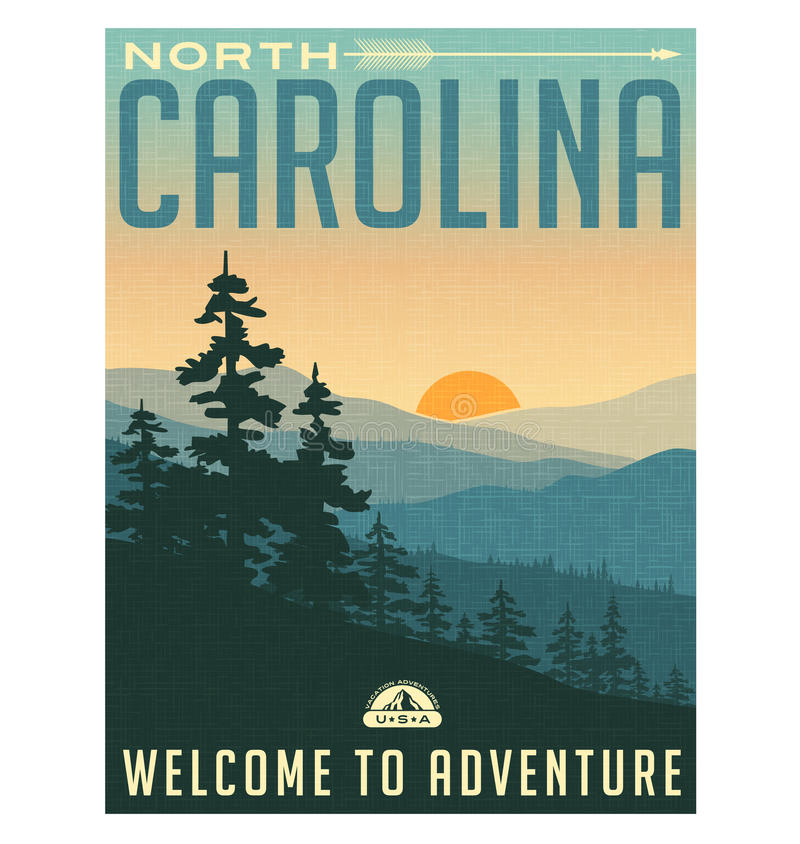 Retro style travel poster or sticker. North Carolina. United States, North Carolina, Great Smoky Mountains, Sunrise
