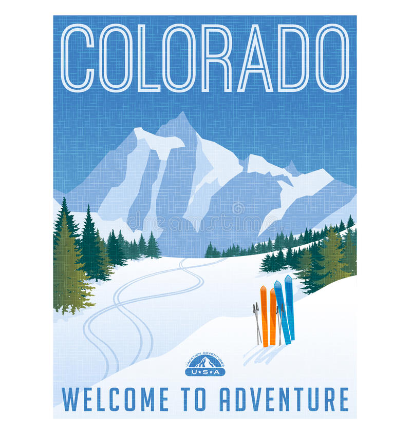 Retro style travel poster or sticker. United States, Colorado Ski mountains. Retro style travel poster or sticker. United States, colorado landscape skis in the